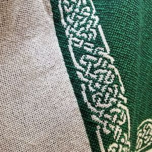 The Rug Barn Jackets & Coats - The Rug Barn Green & White Cotton Jacquard Poncho